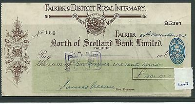 wbc. - CHEQUE - CH1017 - USED -1947- NORTH of SCOTLAND BANK, FALKIRK - special