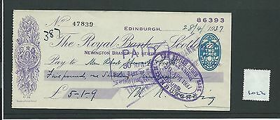 wbc. - CHEQUE - CH1022 - USED -1937 - ROYAL BANK of SCOTLAND, NEWING'N EDINBURGH