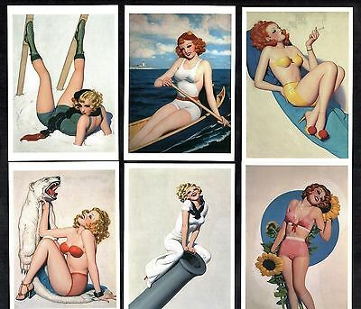 6 Glamour Postcards Enoch Bolles Pin-Up Girls Erotic Vintage Swimsuits Costumes