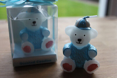 10 x Blue Teddy Bear Candle - Christening Party / Baby Shower Baby Boy Gift