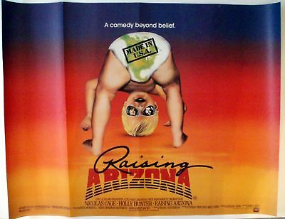 Raising Arizona 1987 Quad Poster Coen Brothers Nicolas Cage Holly Hunter