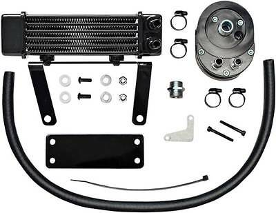 Jagg Black 6-Row Horizontal Low Mount Oil Cooler for Harley 00-14 Softail