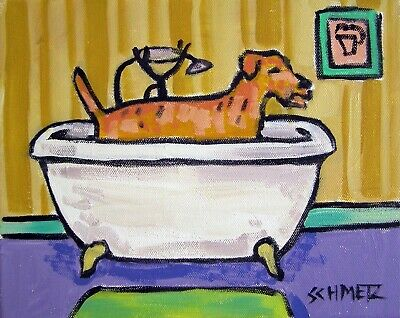 irish terrier taking a bath bathroom dog signed art print 8.5x11
