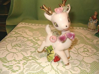 """Adoreable Vintage White Deer Fawn Doe Golden Antlers Flowers Holly Berries 6"""""""