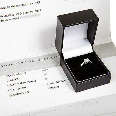 £4000 Beaverbrooks Certified, Ladies 18CT Gold 0.51Crt Solitaire Diamond Ring