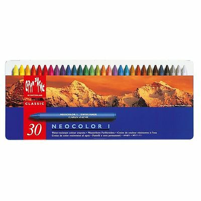 Caran D'Ache - Neocolor 1 - Tin Of 30 Assorted Water-Resistant Wax Pastels