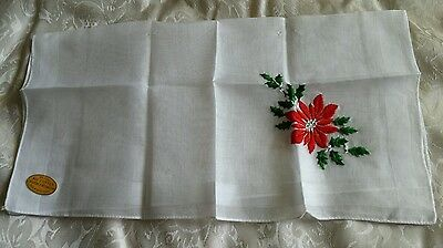 VINTAGE Made in Switzerland Christmas Floral Design Handkerchief Home Decor