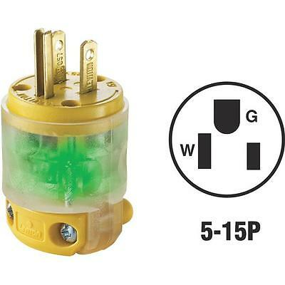 Leviton 15A 125V 5-15P 3-Wire 2-Pole Illuminated Cord Plug