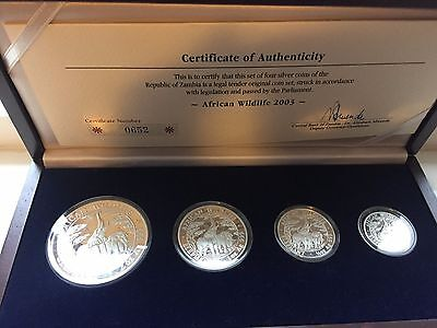 2003 African Wildlife Zambia Somalia Elephant Silver Coin Set Pure 999 AG