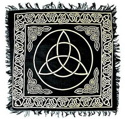 "NEW Gold Triquetra on Black Altar Cloth 18""x 18"""