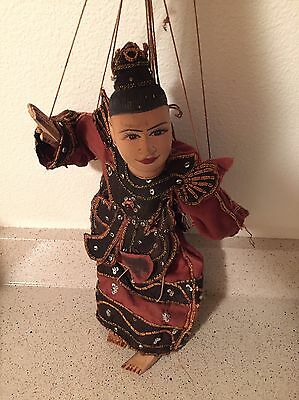 "Antique Vintage 14"" TRIBE KING BURMESE TEAK WOOD Marionette String PUPPET"