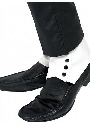 White Spats With Black Buttons - Roaring 20's Gangster Costume - Aussie Seller