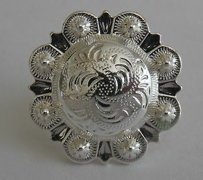 "5180-CC 3/4""  Western Berry Style Concho Sterling Silver Plate Decorative Metal"