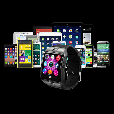 Bluetooth Smart Pedometer Watch Q18 for Android Samsung SIM Card Black