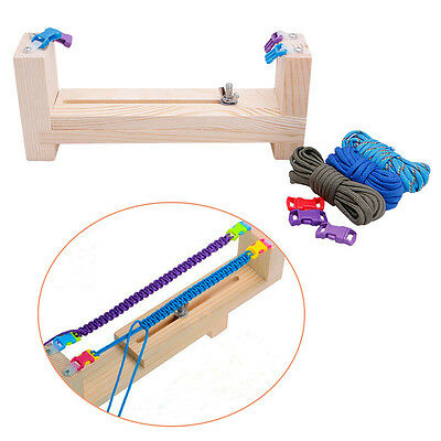 DIY Paracord Knot Bracelet Wristband Maker Jig Solid Wood Tool&Braided Rope Cord