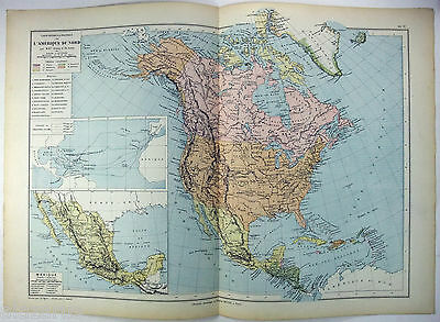 Original 1884 French Map of North America by Drioux & Leroy Paris