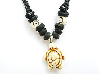 Unisex Stone Turtle Pendant Adjustable Cord Choker Necklace Surf Dive Handmade