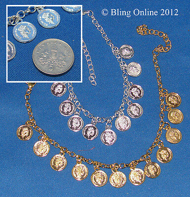 Cascading Mini Coin Anklet Ankle Bracelet Silver/gold Gypsy Fortune Telling