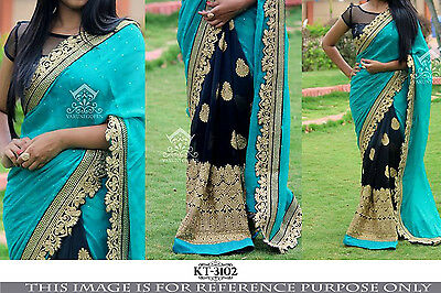 Indian Designer Sari THREAD WORK Bollywood Sari Wedding Party 3102