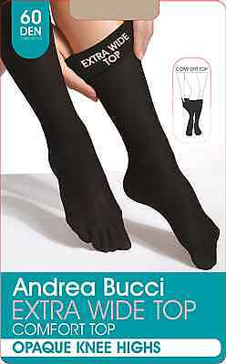Andrea Bucci 60 Denier Extra Wide Comfort Top Knee Highs - Black or Natural