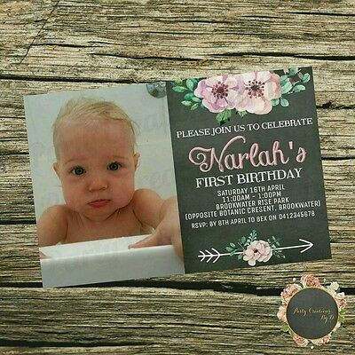 8x Girls 1st Birthday Party Invitations FLORAL Chalkboard flowers pink photo