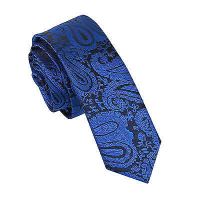 New Dqt High Quality Paisley Men's Wedding Skinny Tie - Royal Blue