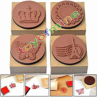 4 Retro Stylish Scrapbooking Diary Wooden Rubber Stamp Seal With Ink Pad DIY