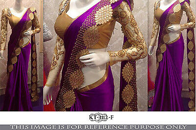 Bollywood Designer NylonSilk Indian Party WearSari Bridal Wedding Pakistani Sari