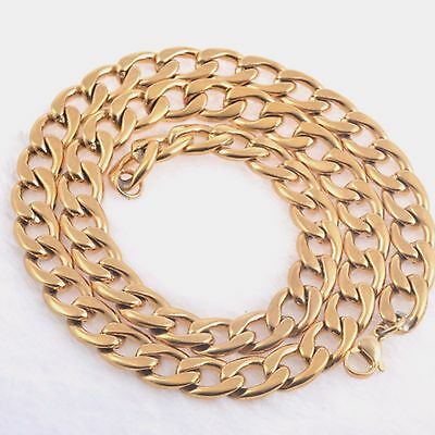 """Stainless Steel Gold Plated Curb Mens 4.5 mm Chain Womens Necklace (20"""" & 24"""")"""