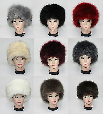 017b4ef29 LUXURY LADIES FAUX Fur Hat Russian Style Cossack Pillbox Winter Fake Fur