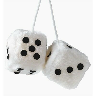 7 x 7cm White Furry Dice Car Hangers - Sume Fuzzy Hanging Dangling Accessory 7x
