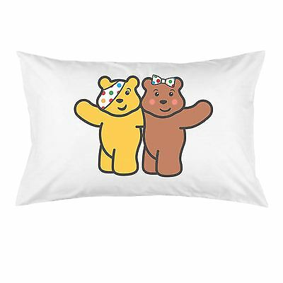 White Cotton Pudsey & Blush Bear BBC Children in Need Charity Pillow Case