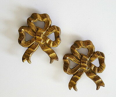 2 antique picture hook covers Ribbon Bow French bronze hardware 2.44 inches