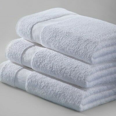 6 WHITE 100% COTTON NEW HOTEL BATH TOWELS 24x50 ABSORBENT SPA ROYAL TEXTILE