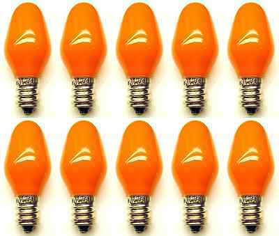 Box of 10 Bulbs 7C7/CO/120V 7 Watt 120 Volt Screw Base E12 Ceramic Orange
