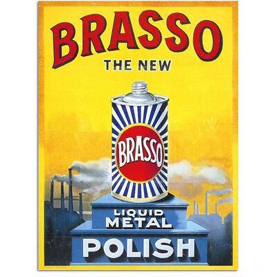 Brasso Liquid Metal Polish British Sign Vintage-Style Reproduction 12 x 16