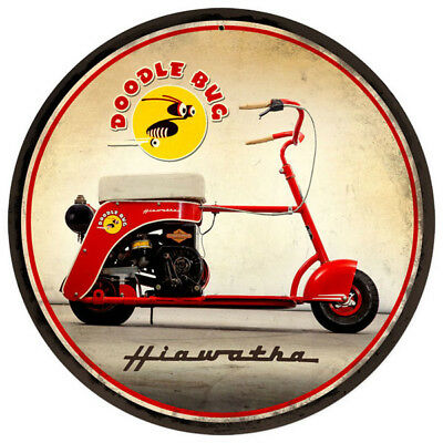 Hiawatha Doodle Bug Scooter Metal Sign 14 Round Vintage Motorcycle Wall Art