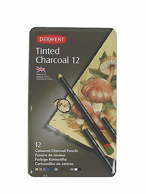 Derwent Tinted Charcoal Pencils - Set of 12 - New