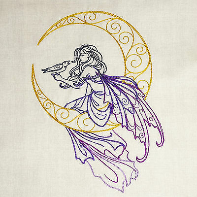 Embroidered Quilt Block Panel FAIRY MOON ~ 100% Cotton Makower Chalk Linen Look
