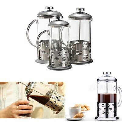 Stainless Steel Glass Cafetiere French Filter Coffee Tea Kettle Press Plunger