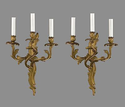 French Rococo Bronze Wall Sconces c1930 Vintage Antique
