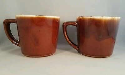 "Set of Two McCoy Pottery Brown Drip Glaze Coffee Mugs Tea Cup 3"" Tall"