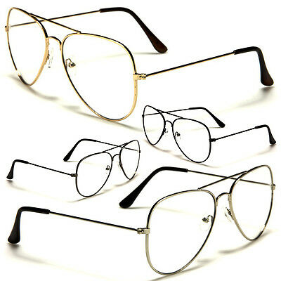VINTAGE CLASSIC RETRO AVIATOR Gold Silver Clear Lens Metal Frame Glasses