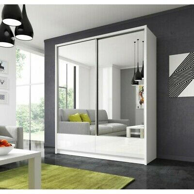 Modern WARDROBE  sliding doors WITH MIRROR , WHITE colour drawers SHELFS wwwARM