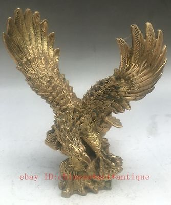 Old Chinese Feng Shui Folk Brass Carving Animal Fly Eagle Hawk Statue Sculpture