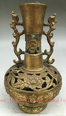 chinese old hand engraving beautiful brass ssangyong hollow out vase collect TT