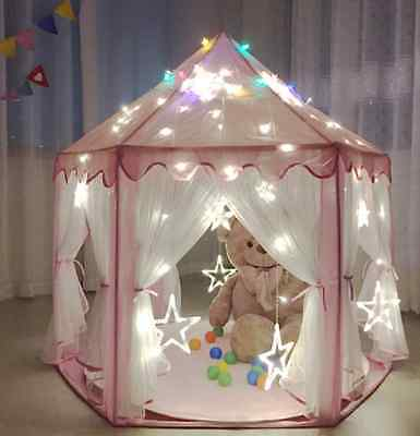 Pink Playhouse Princess Castle Children Play Tent House Gift for Kids Indoor