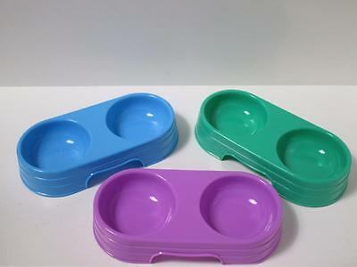 4 x Cat kitten plastic small double diner food water bowl dish DHY017