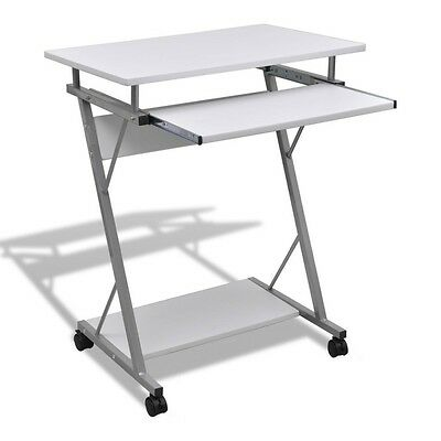 NEW Mobile Computer Table White Desk Laptop Stand Keyboard Tray Office Student