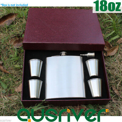 18oz Stainless Steel Hip Flask Liquor Alcohol Bottle 4Cups Funnel Set Gift Box